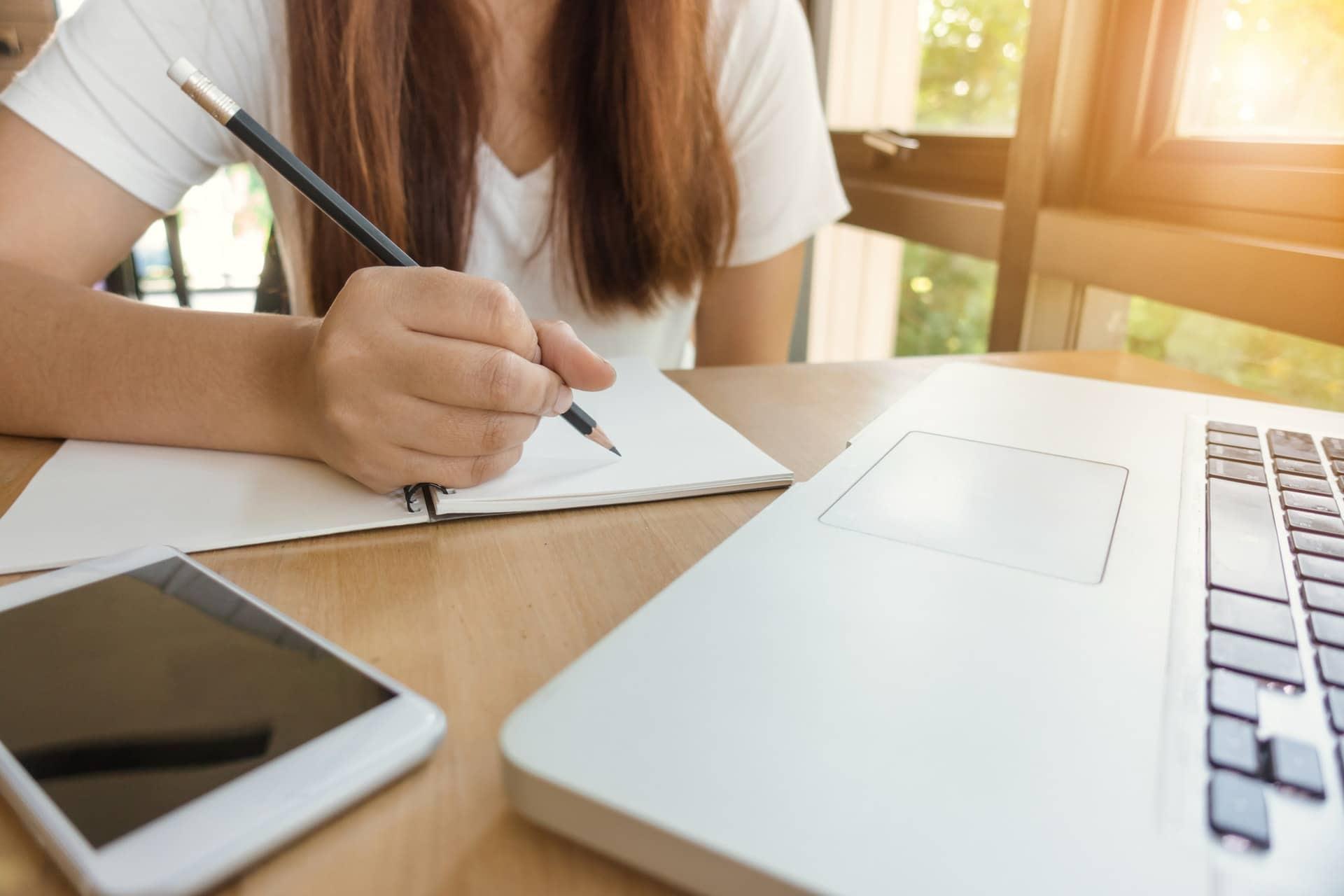 Student working on applying to school