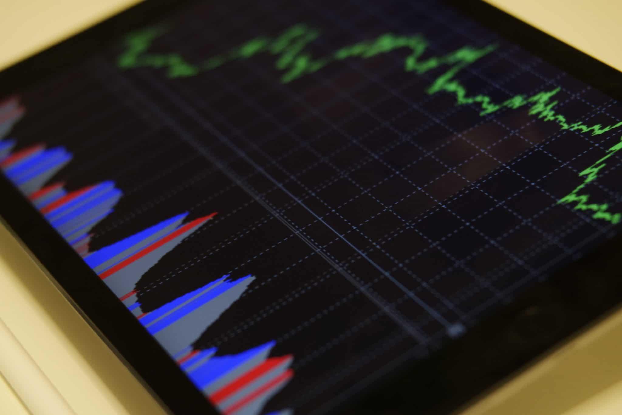 iPad showing financial graphs