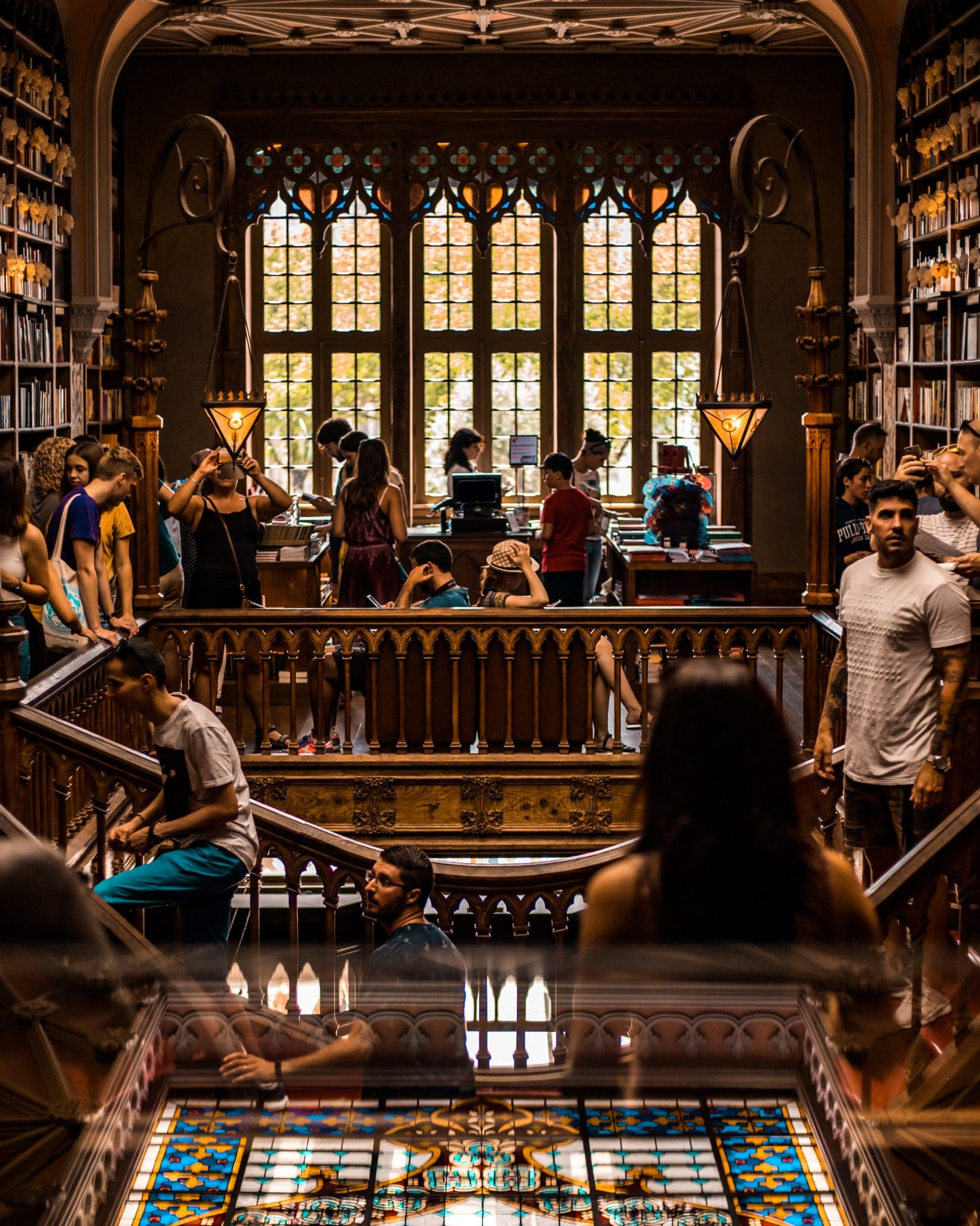 College students enjoying time in a library for free.