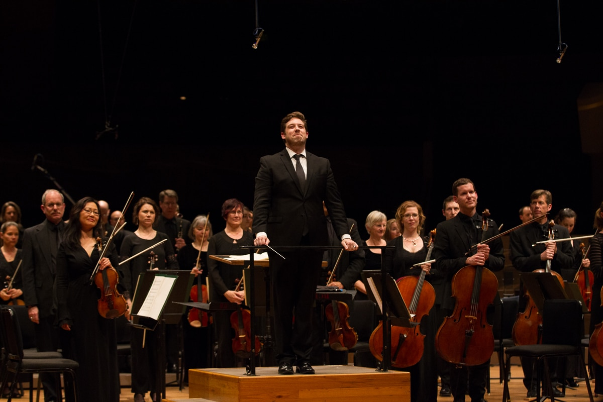 The Colorado Symphony performing. Judith is standing the the left of the conductor. Photo courtesy of the Colorado Symphony.