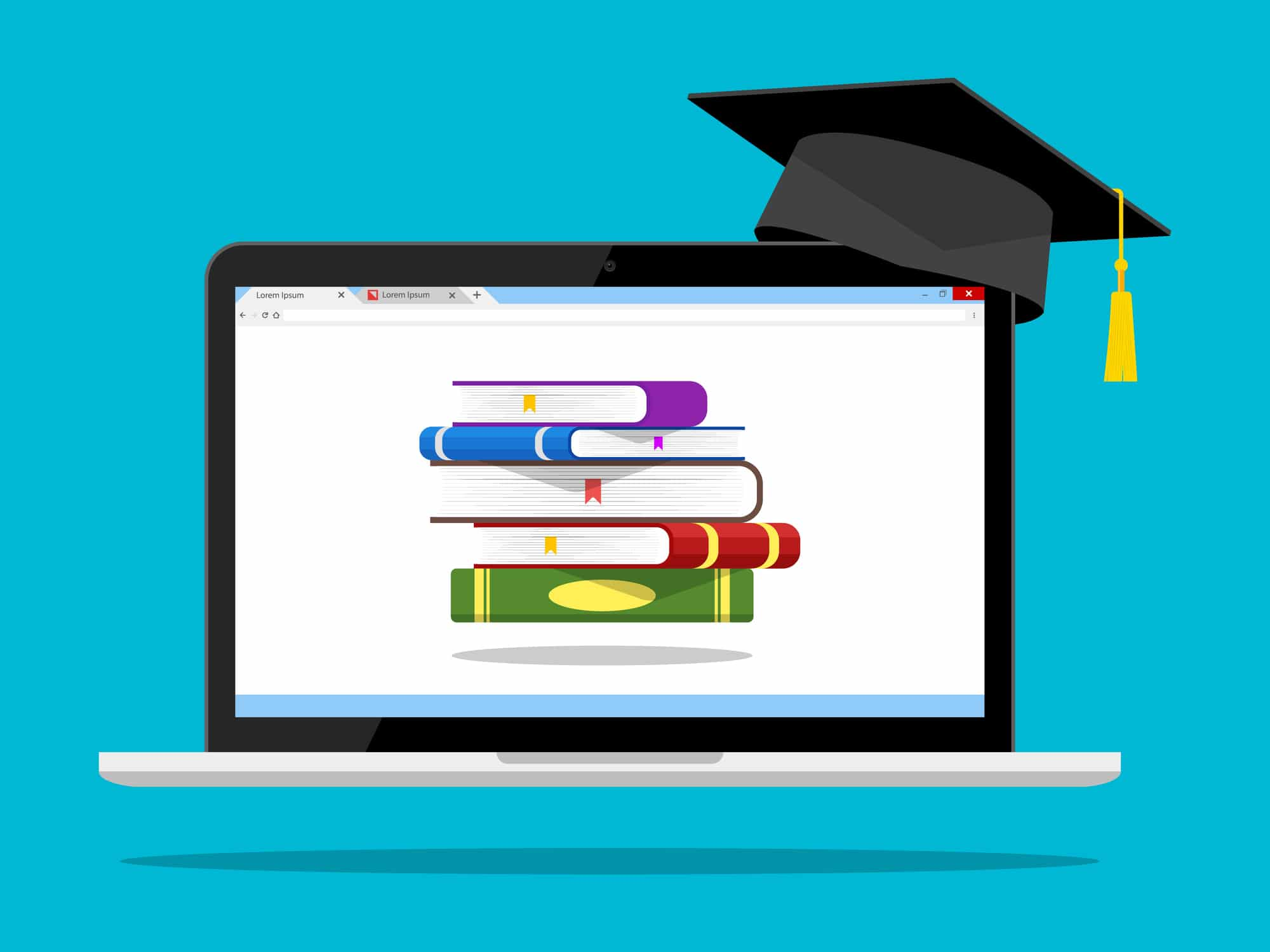 illustration of computer showing an online class with books and mortar board