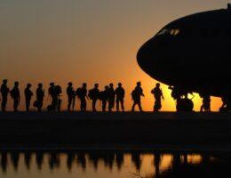 Military boarding plane