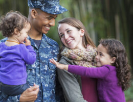 military family finding support resources on campus