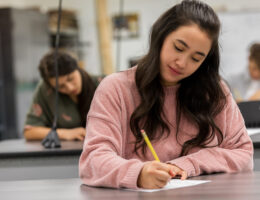 Female students taking standardized tests