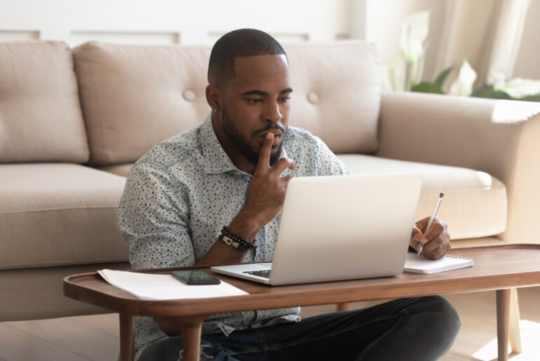 male student finding out how to make the most of his social distancing time at home
