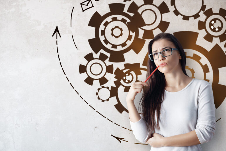 woman thinking about thinking, using metacognition